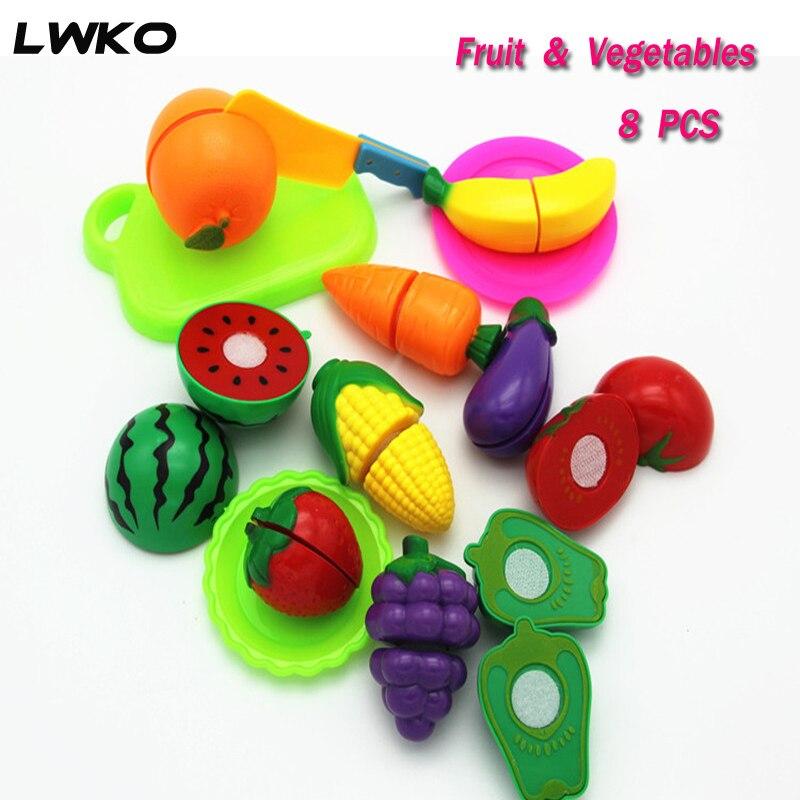 8PCS/10PCS Children Play House Toy Cut Fruit Plastic Vegetables Kitchen Baby Classic Kids Toys Pretend Playset Educational Toys