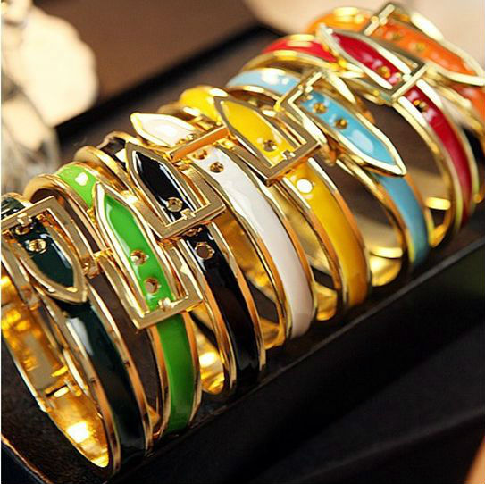 High Quality Enamel Gold Belt Bangle Bracelet Fashion Belt Buckle Bangle Bracelet