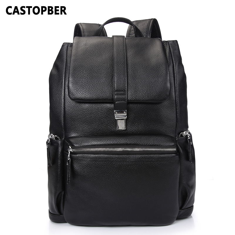 New Business Cow Genuine Leather Men Backpacks European and American Style for Laptops High Quality Bag for Man Famous Brand 2018 new men jeans ripped jeans for men biker jeans european and american style slim fit high quality fashion 1711