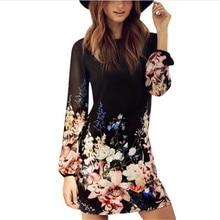Women Sexy Summer Dresses Floral Print Long Sleeve Chiffon Evening Party Beach Dress S XL