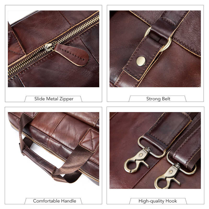 MVA Business Briefcases Bag Genuine Leather Men Bags for Document Leather Laptop Bag Office Bags for men briefcases Totes 7804