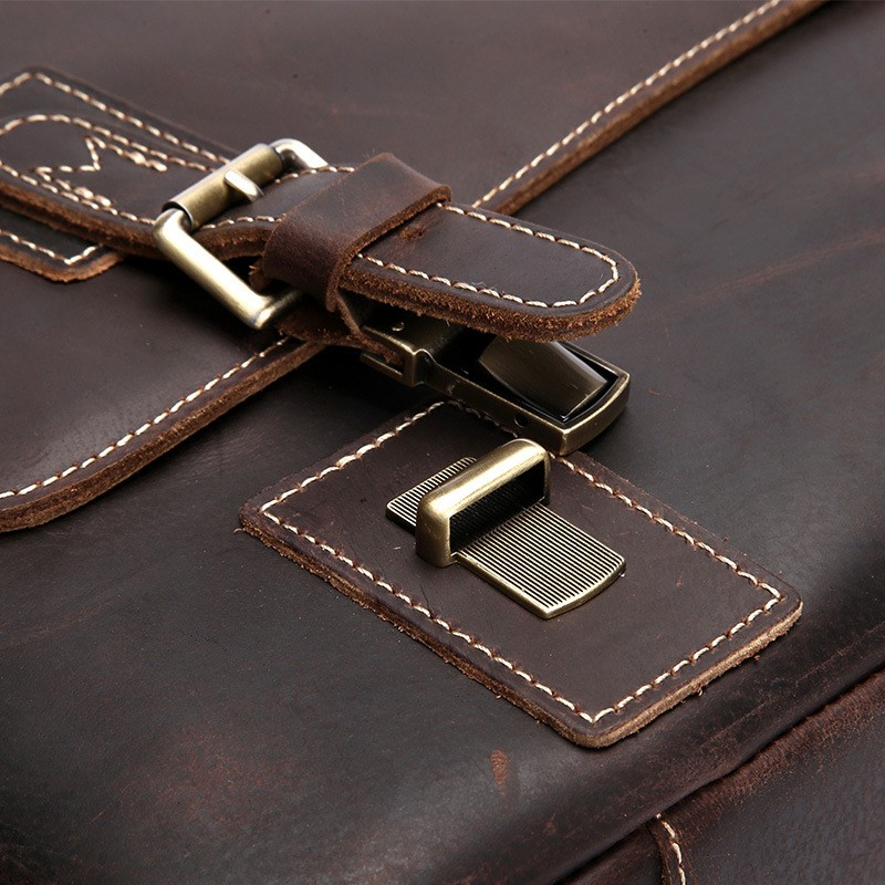 "New Retro Crazy Horse Vintage Men's Briefcase 14"" Laptop bag Business Case Messenger Bag Men Shoulder Bag Crossbody Bag"