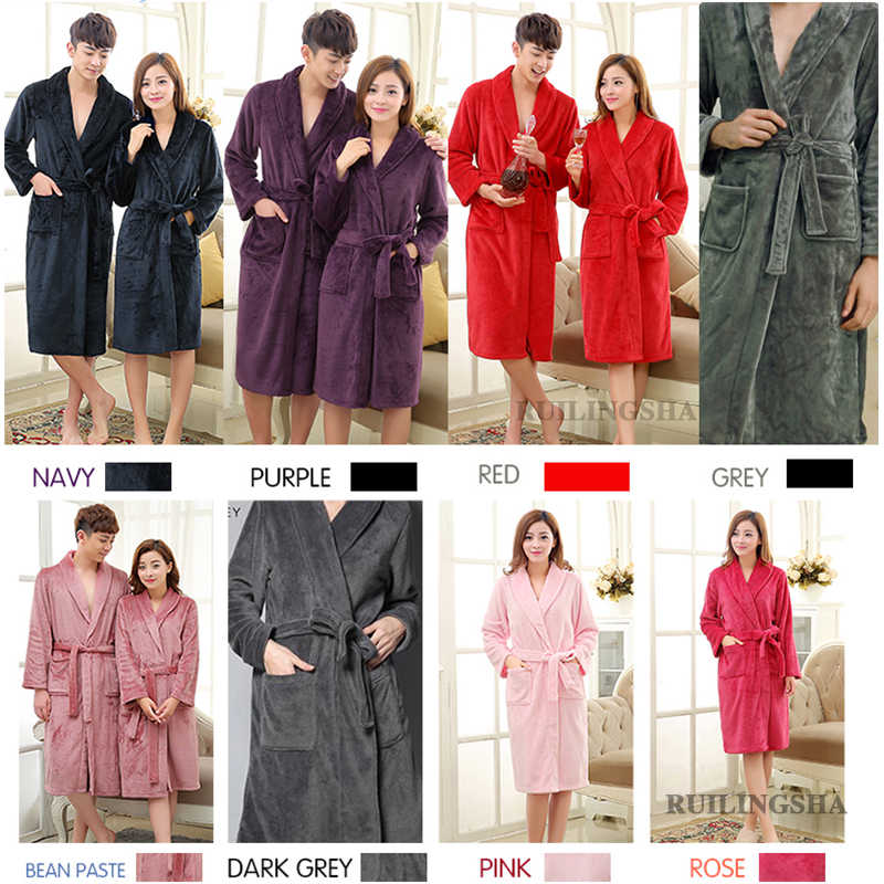 d6074573d6 ... On Sale Women Men Silk Soft Long Lounge Bathrobe Warm Dressing Gown  Bride Kimono Bath Robe ...