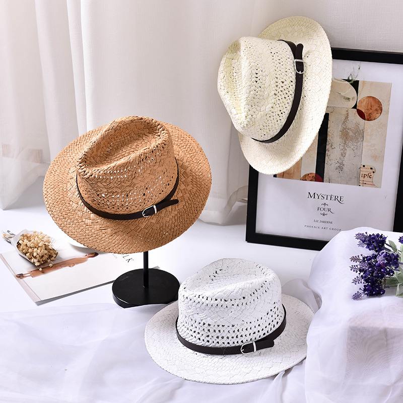 Breathable Straw Hats For Men And Women Wide Brim Sun Hat With Belt Fashion Jazz Cap Panama Cowboy Caps Men Hollow Beach Sun Hat