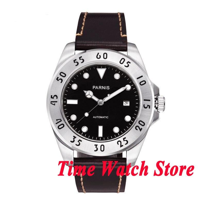 Parnis 43mm black dial Metal bezel 21 jewels MIYOTA Automatic mens watch 428 цена и фото