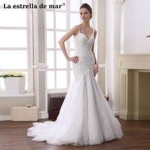 Vestido de novia 2018 new lace straps ivory white mermaid wedding dresses long pretty robe de mariage hot trouwjurk