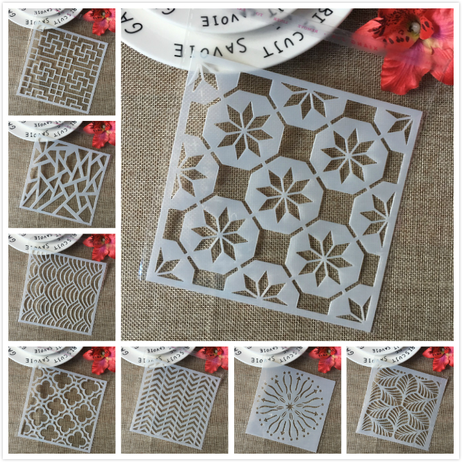 8Pcs/Lot 15cm Leaves Wavy Cloud DIY Layering Stencils Painting Scrapbook Coloring Embossing Album Decorative Card Template