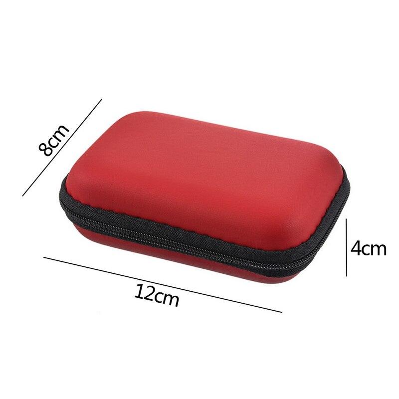 Чехол-контейнер для монет, наушников, защитная коробка для хранения, цветные наушники чехол для путешествий, сумка для хранения наушников, кабель для передачи данных, зарядное устройство - Цвет: Red 12x8cm