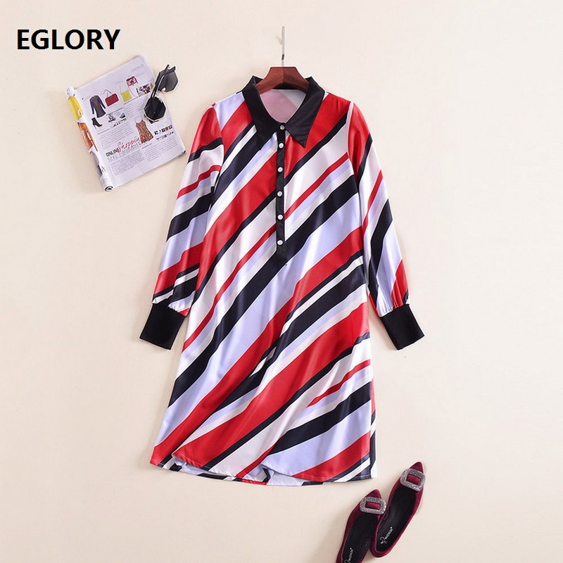 2018 Spring Summer Casual Ladies Dress Turn-down Collar Striped Print Long Sleeve Loose A-Line Long Tops Dress Shirts Robe