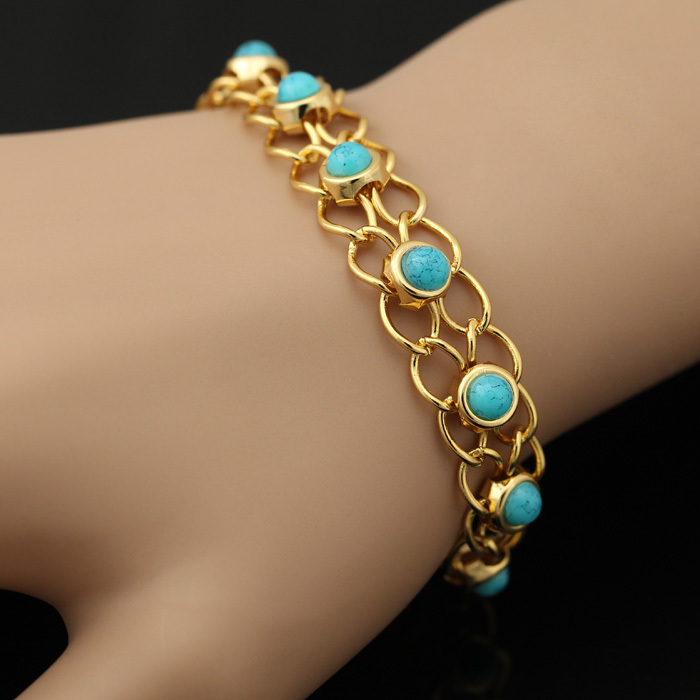 U7 Bracelets Bangles Quality Gold Color Blue Turkey Stone Link