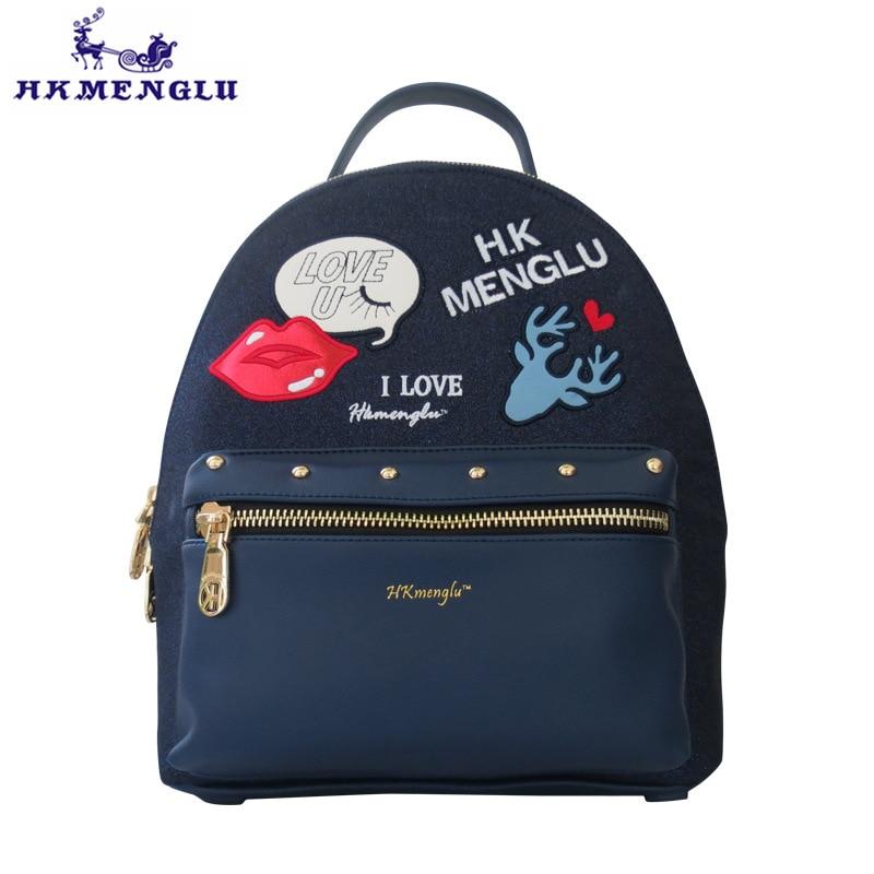 HKMENGLU Fashion shiny embroidered PU leather shoulder women bag animal cartoon ladies shoulder bag girl stitching
