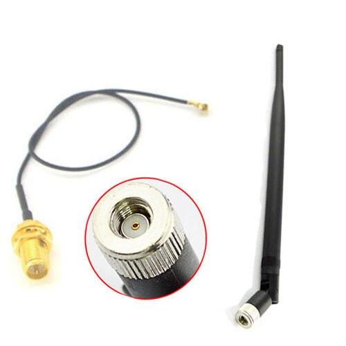 bilder für 7DBi 2,4 GHZ WiFi Antenne RP-SMA Stecker adapter + IPX zu RP-SMA Jack Männlich Pin Verlängerungskabel Zopf Kabel 17 cm