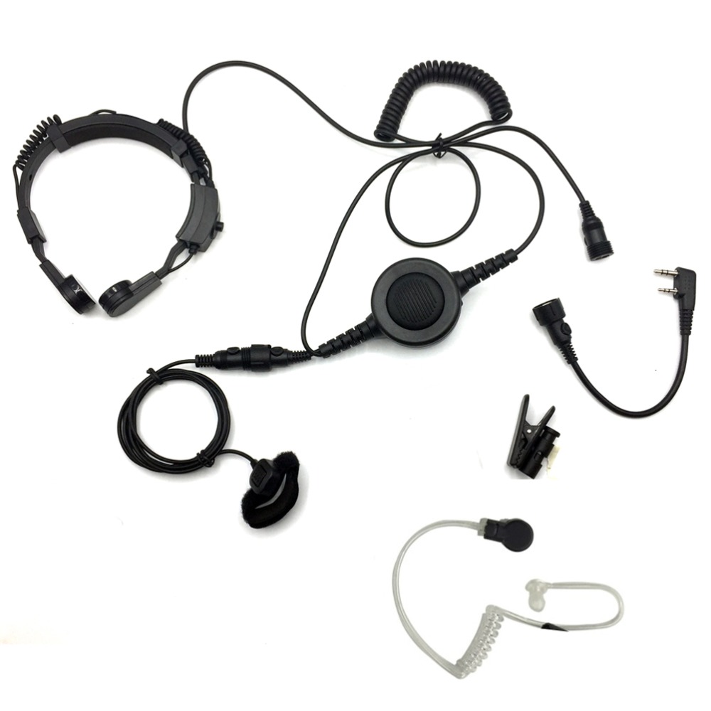 imágenes para Military tactical throat micrófono auricular mic del auricular grande ptt para walkie talkie baofeng bf uv-5r 888 s uvb2 más cb radio
