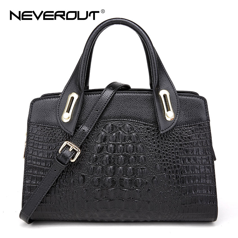NeverOut Women Crocodile Genuine Leather Casual Tote Classic Business Female Handbags Oil Wax Leather Shoulder Bags Free Ship 247 classic leather