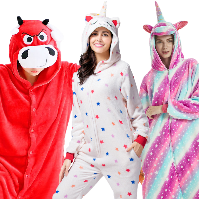 2019 Flannel Animal unicorn Pajamas Sets Women Men Adults onesies unicorn Panda Stitch Cosplay Winter Warm Hooded Sleepwear-in Pajama Sets from Underwear & Sleepwears