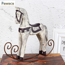 Modern Europe Style Trojan Horse Statue Wedding Decor Wood Horse Retro Home Decoration Accessories Rocking Horse Ornament Gifts