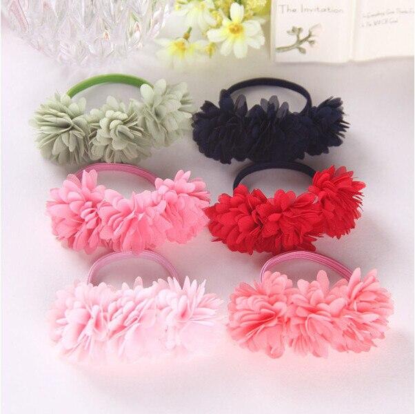 Chiffon Flowers Girls Headwear Hair Accessories Rubber Bands Barrettes Girl Headwear Bow Retail Wholesale Boutique