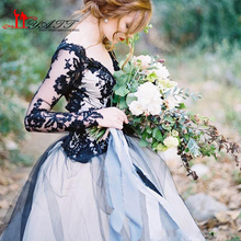Victorian Gothic Wedding Dress with Illusion Long Sleeves Lace Bodice Tulle Skirt Keyhole Open Back Bridal Gowns 2016 New