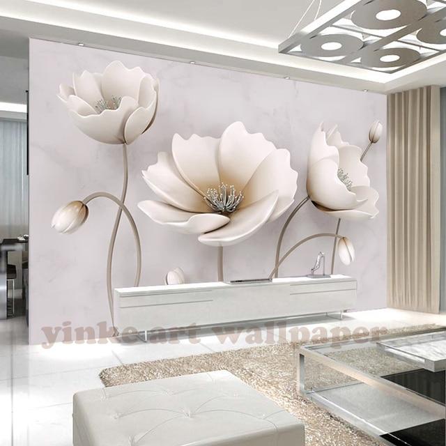 Captivating 3D Wallpaper Living Room Bedroom Murals Northern Europe Elegant Flower  Marble Texture Art TV Wall Murals