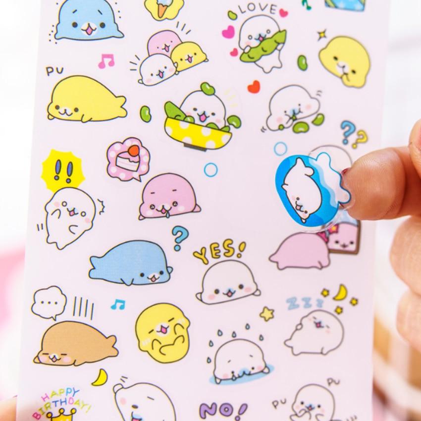Купить с кэшбэком 6sheets/pack Kawaii Cartoon Sticker Transparent Diary Album Mobile Phone Decoration Dog Sea Lion Account Stickers Scrapbooking