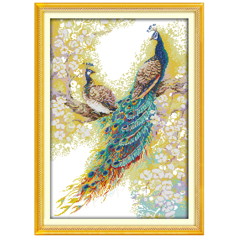 The Peacock Couples Patterns Counted Cross Stitch 11CT 14CT Cross Stitch Sets Animals Cross Stitch Kits Embroidery Needlework