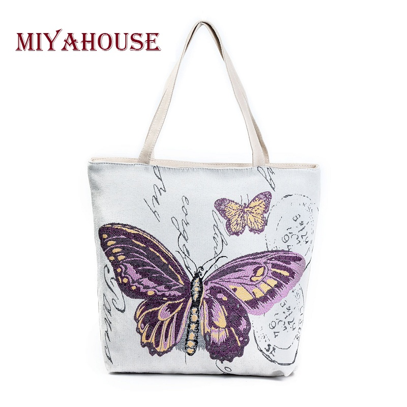 Miyahouse Retro Women Casual Bag Canvas Butterfly Printed Shopping Bags Female S