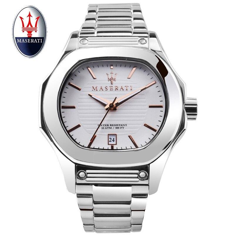 Maserati марки Для мужчин кварцевые часы 100 м Водонепроницаемый наручные Fuoriclasse мужской Повседневное кварцевые часы Мода Для мужчин кварцевые ч