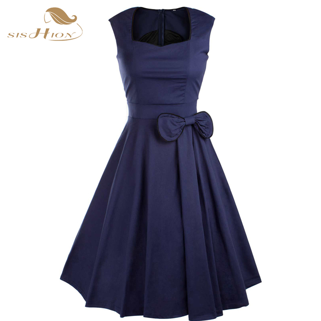 fb64232c0a US $36.54 |SISHION 2017 Summer Dress Women Black Purple Navy Blue Red 50s  Vintage Dresses Rockabilly Casual vestidos Plus Size VD0181-in Dresses from  ...