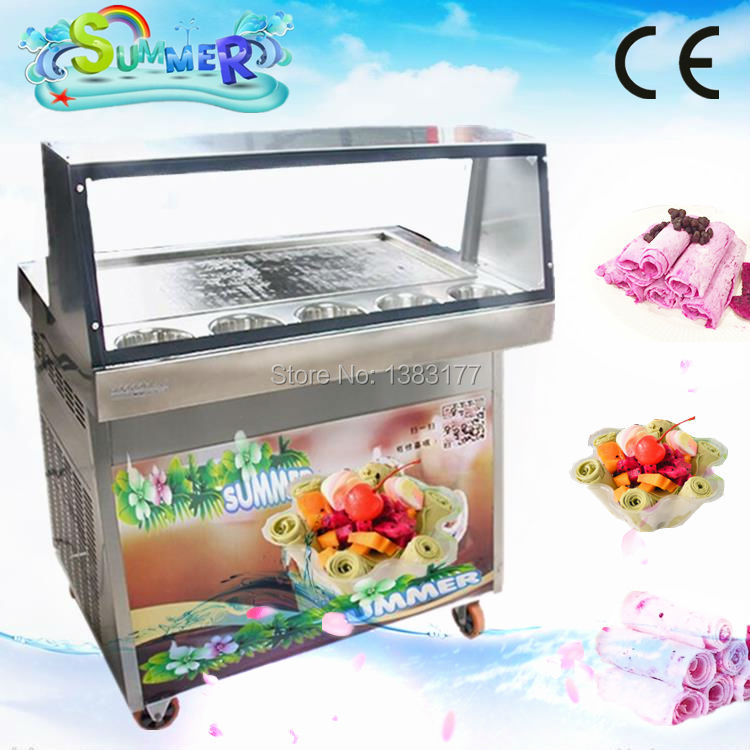 Free air ship CE Stainless Steel Fried Ice Cream Machine Single Pan Freezer ice pan machine with defrost for Ice Cream Rolls ce fried ice cream machine stainless steel fried ice machine single round pan ice pan machine thai ice cream roll machine