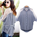 Plus Size Fashion Spring Summer Women Blue Stripe Shirts 2015 Turn-down Collar Lace Patchwork Batwing Sleeve Casual Blouses Tops