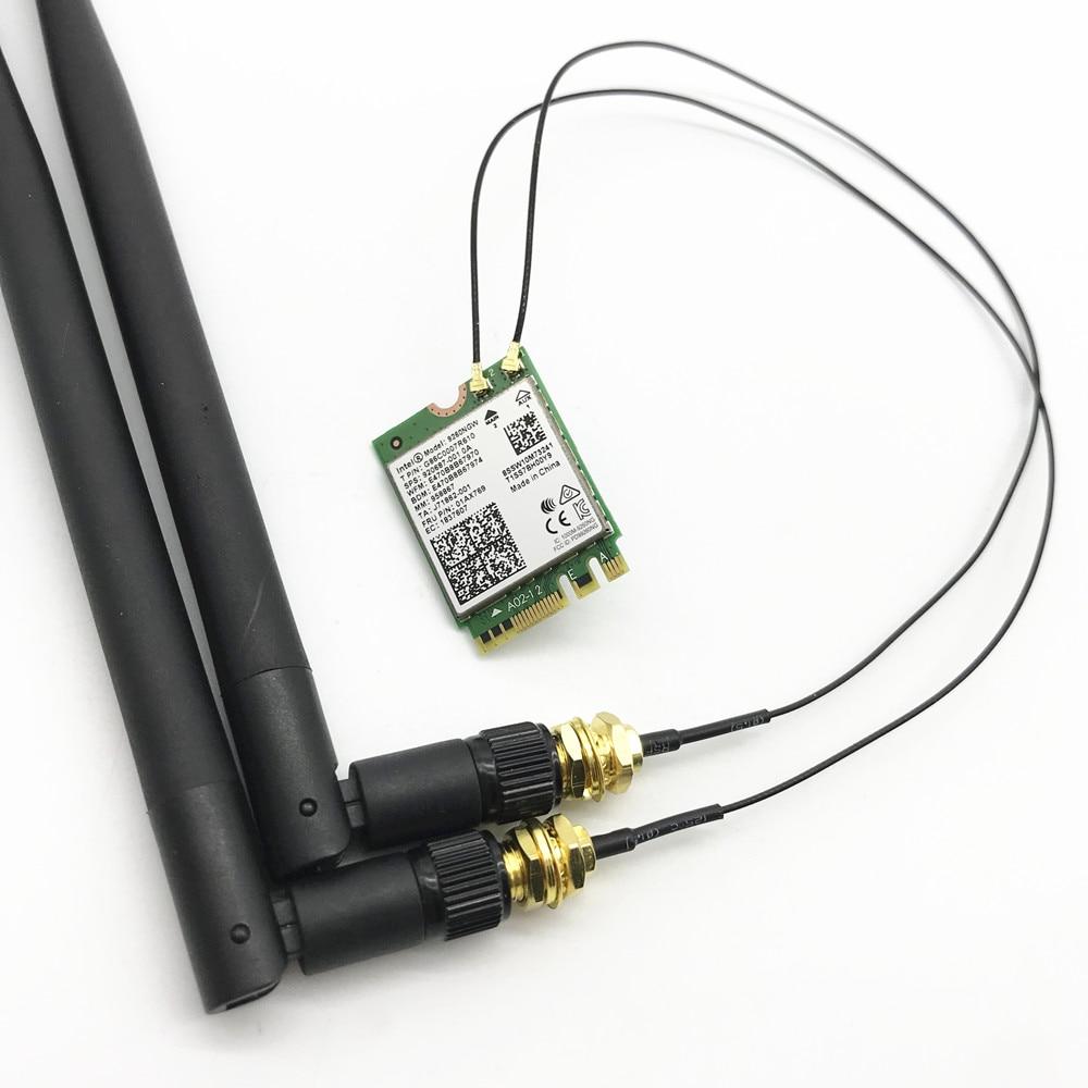 Dual Band Intel 9260 9260NGW 802.11ac 1730Mbps WiFi + Bluetooth 5.0+ 4dbi M.2 IPEX MHF4 U.fl RP-SMA Wifi Antenna Set