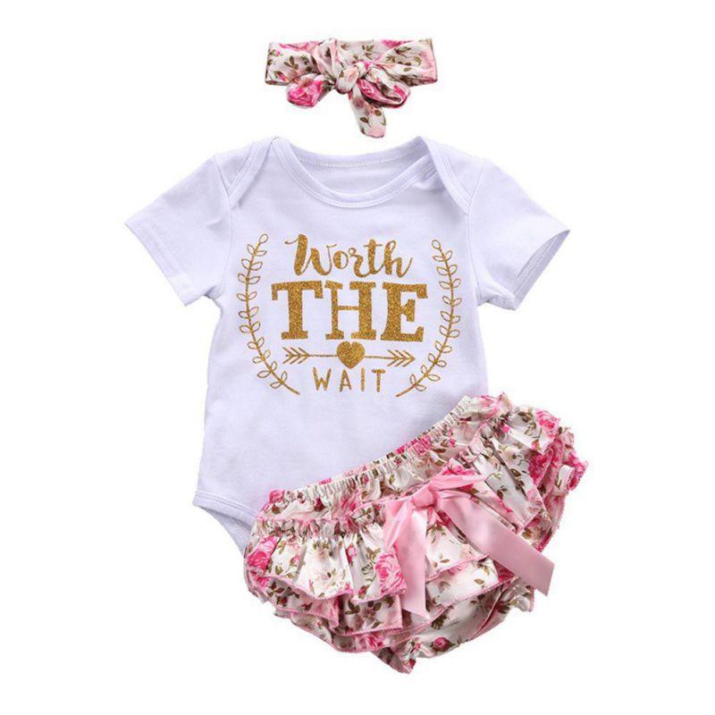 2017 3 Pcs Sets Newborn Baby Girls Clothes Baby Bodysuit Romper+Ruffles Tutu Skirted Shorts Headband Outfits