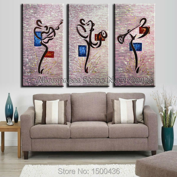 Aliexpress Com Buy 3 Piece Canvas Art Home Decoration: Aliexpress.com : Buy Hand Painted Oil Music Painting Wall