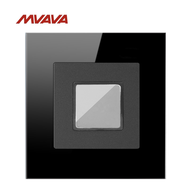MVAVA Intelligent Corridor Touch 45S Delay Light Timer Wall PIR Sensor Switch Light Luxury Black Crystal Glass Panel kg f light control switch 220v automatic corridor light sensor adjustable with probe intelligent delay street lamp controller