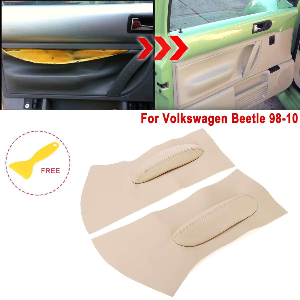 PINK LEATHER 2X FRONT DOOR CARD TRIM  COVERS FITS VW BEETLE 1998-2010