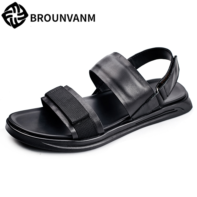 Genuine Leather Men's Rome sandals summer Sneakers Men Slippers Flip Flops casual Shoes beach outdoor anti-skid cowhide male 2017 hot sale mens casual sandals summer leather anti skid men flip flops fashion genuine leather outdoor cool slippers original