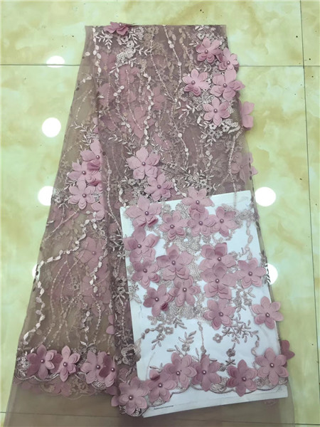 Latest pink African Laces 2019 3 D Flowers Tulle Lace Fabric Nigerian Beads Material Beautiful Bride