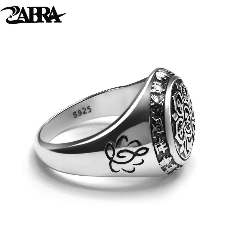 ZABRA Vintage Genuine 925 Sterling Silver Rings For Women Female Six Words Budda Mantra Biker Mens