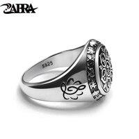 ZABRA Vintage Genuine 925 Sterling Silver Rings For Women Female Six Words Budda Mantra Biker Mens