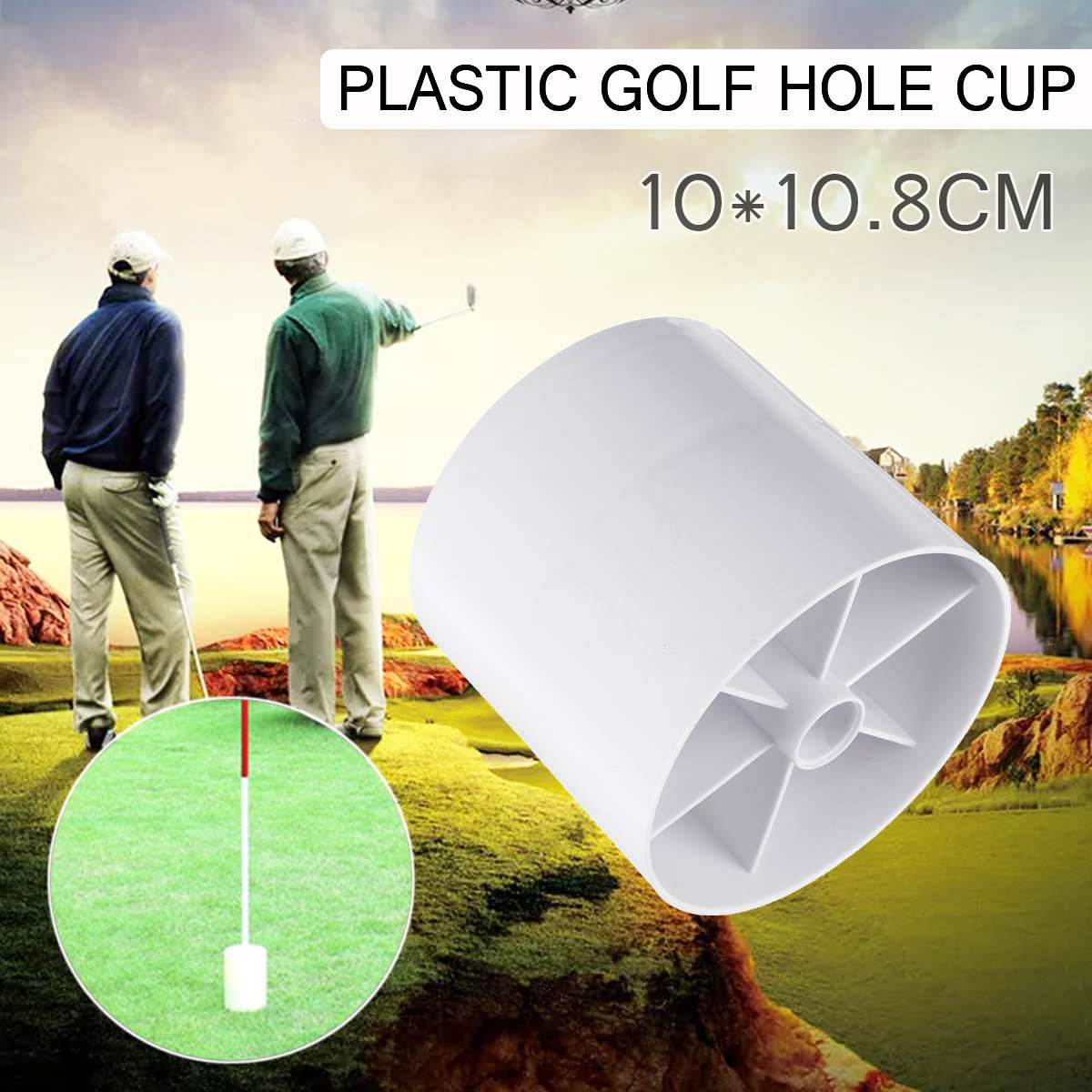 Golf Training Aids White Plastic Golf Hole Cup Putting Putter Golf Flag Stick Yard Garden Training Backyard Practice Putting
