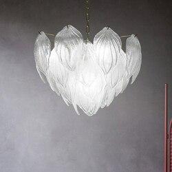 Nowoczesny szklany liść żyrandol LED światła amerykański liść żyrandole światła oprawa domu kryty jadalnia łóżko lampy do salonu