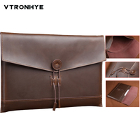 For Macbook Air Pro Retina 11 13 15 Inch Second Layer Cowhide Leather Bag Laptop Sleeve for 2016 Mac book Pro 13 15 Touch Bar
