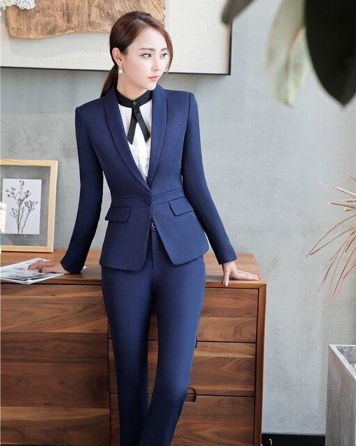 6cc26b78a Señoras formales Pantalones de traje para las mujeres de negocios Trajes  azul chaqueta y chaqueta Sets