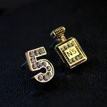 2017 Nombre 5 Parfum Zircon Boucles D'oreilles plaqué Or CC Bijoux Femmes Canal Boucles D'oreilles Exagéré Accessoires en gros(China (Mainland))