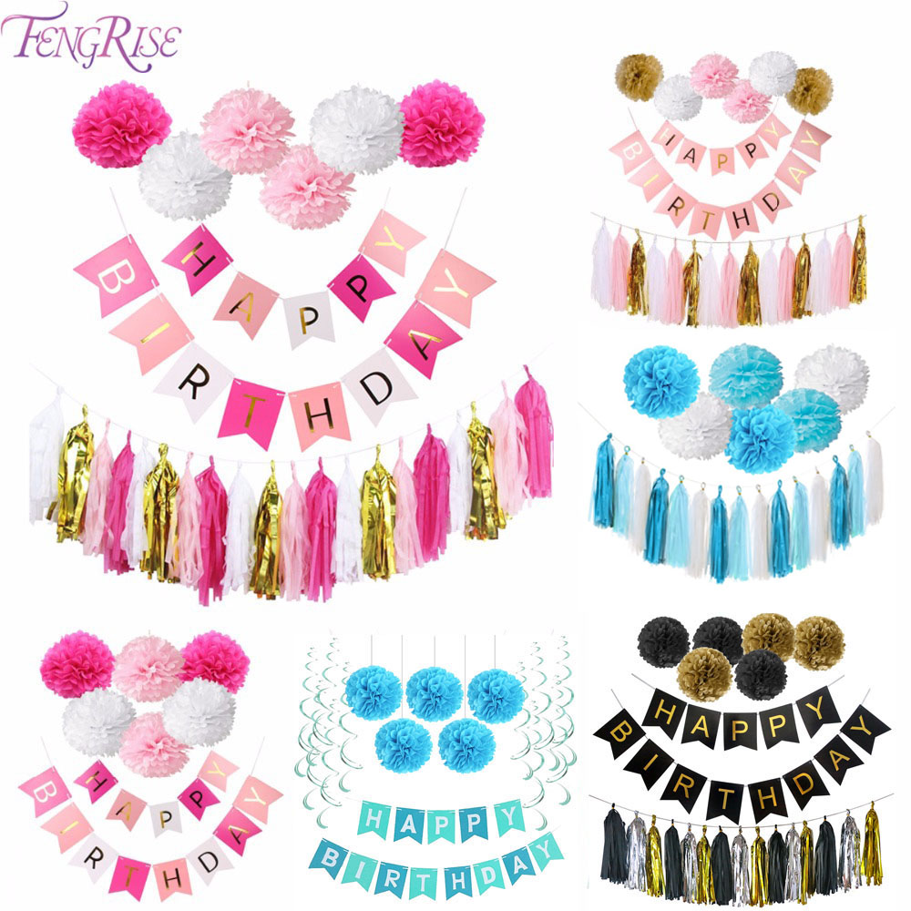 FENGRISE DIY Girl Pink Happy Birthday Banner Carta velina Pom Poms Gold Baby Boy Blue Bunting Decorazione di compleanno Bomboniere
