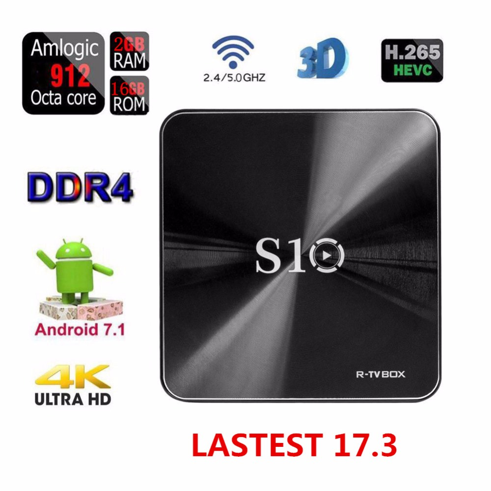 MCBOSON S10 Smart TV BOX 2G 16G S912 Octa Core Android 7.1 R-TV 2.4G/5G WIFI LAN 1000 BT 4.1 H.265 4K Media Player z4 android tv box rk3368 octa core 64 bits 2g 16g android 5 1 smart tv box wifi