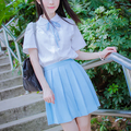 S--2XL Japanese JK pleated skirt blue/grey teens student skirts cute harajuku Mid school skirt COS cotton 7 Colors Free shipping