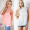 New Arrival Women Fashion Summer Lace Patchwork Sleeveless Shirt Casual Loose Top Vest