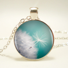 Dandelion Logo Pendant Necklace Charm Handmade Necklace Vintage Silver Chain Pendant Necklace Women Jewelry Friend  Gift HZ1
