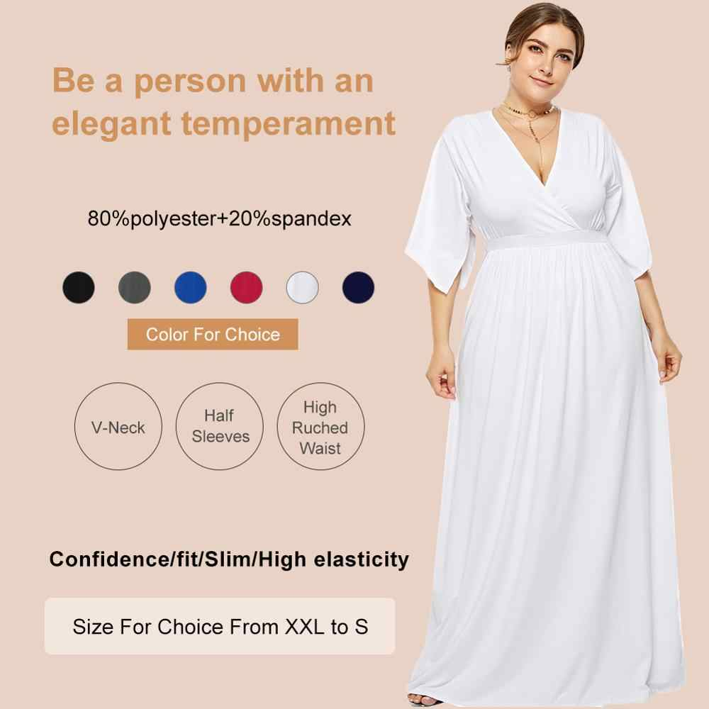 eafd6245e31b6 Seluxu Plus Size Summer Dresses For Women 2019 Elegant Vestidos Robe Femme  Jurken White Color Solid Maxi Ladies Dress
